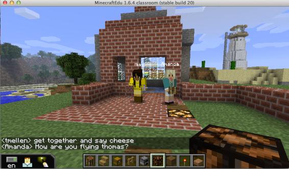 Building a shelter in Minecraft (photo credit @tmellen004)