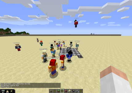 Students arriving into their MinecraftEdu community via teleport block! Taken by @RockIslandGirl8
